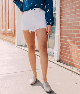 Kennedy High Rise White Distressed Shorts