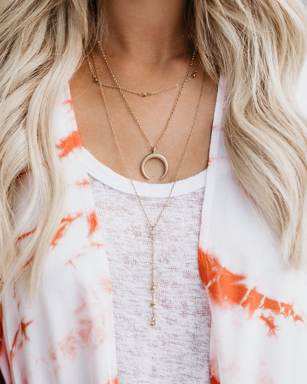 Celestial Layered Crescent Necklace in Gold