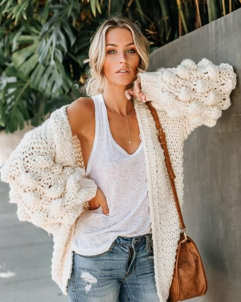 Heidi Honeycomb Knit Cardigan in Ivory