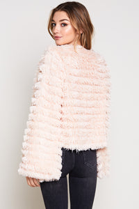 Janet Open Front Bell Sleeve Fur Jacket in Blush