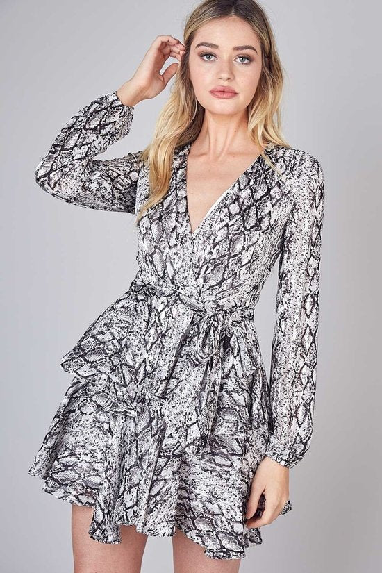 Philo Python Ruffle Dress in Silver