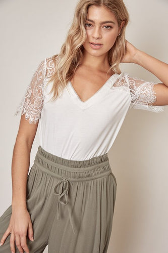 Louie Lace Sleeve Top in White