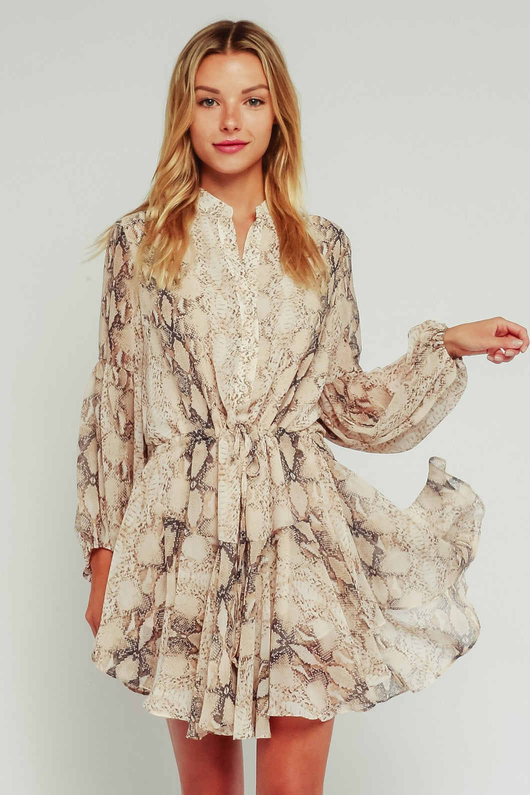 Milly Brown Snake Adjustable Balloon Sleeve Dress