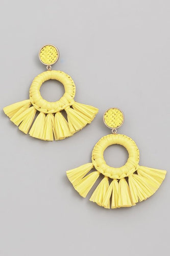 Sophie Straw Fringe Hoops in Yellow