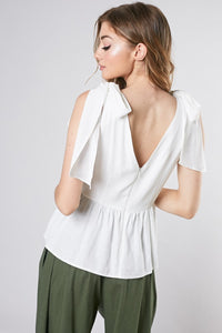 Braelynn Shoulder Bow Top in White