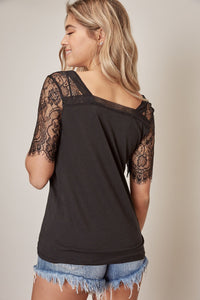 Louie Lace Sleeve Top in Black