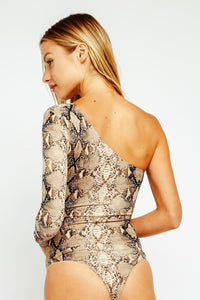 Sia One Shoulder Snakeskin Bodysuit