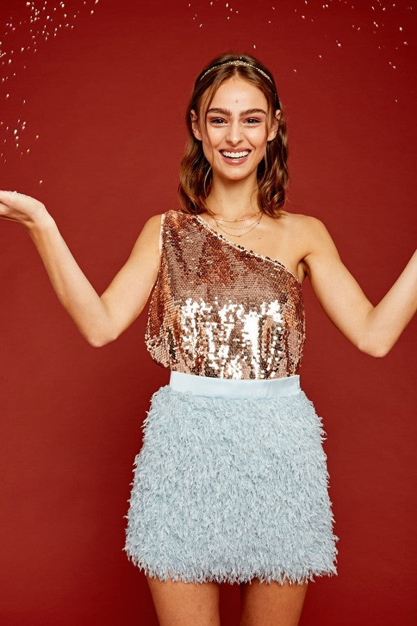 Stacie One Shoulder Sequin Top in Rose Gold