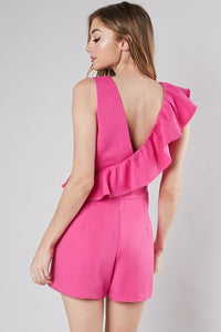 Reese Ruffle Romper in Hot Pink