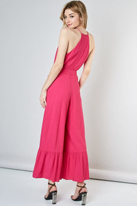 Lani Linen Bottom Ruffle Jumpsuit in Hot Pink
