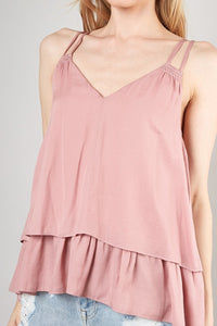 Lucille Layered Cami in Dusty Rose