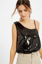 Stacie One Shoulder Sequin Top in Black