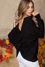 Tara Twist Back Black Sweater