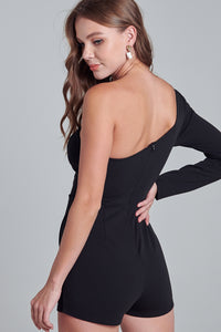 Ollie Overlap One Shoulder Romper in Black