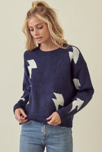 Bobbi Lightning Bolt Sweater in Navy/White