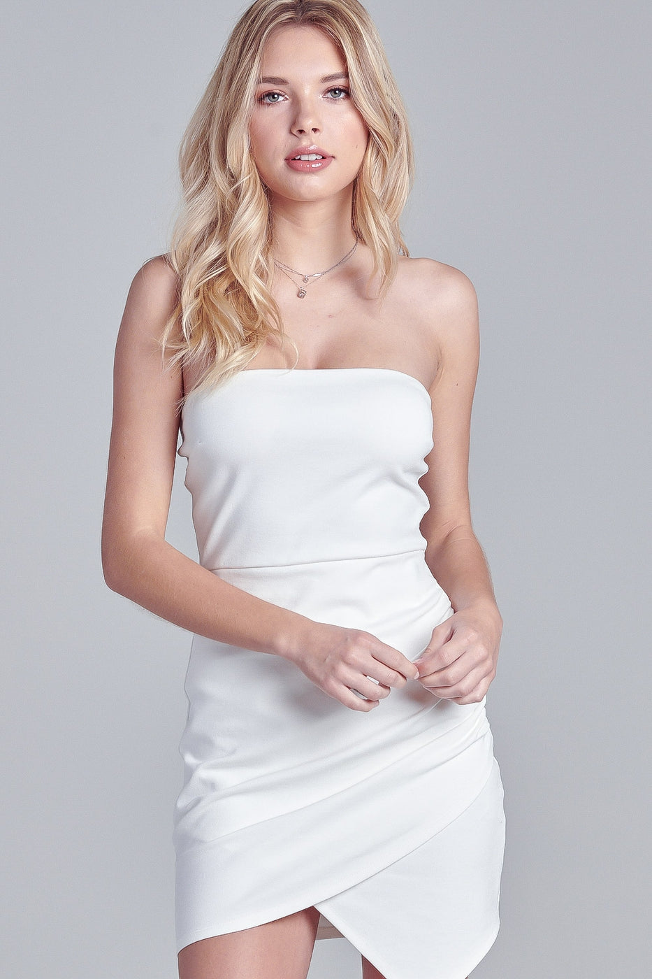 Alex Asymmetric Tube Dress in White