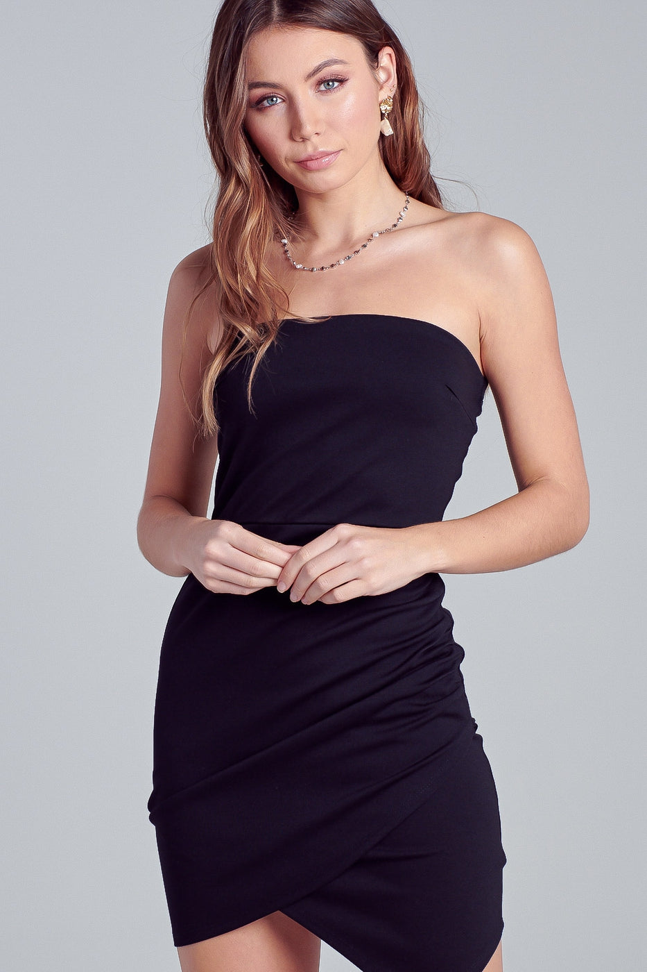 Alex Asymmetric Tube Dress in Black