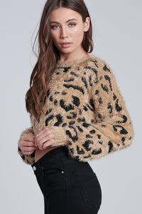 Lucy Leopard Cropped Fuzzy Sweater