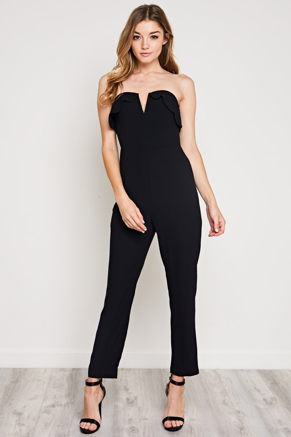 Janey Strapless Scallop Jumpsuit