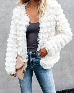 Janet Open Front Fur Jacket in Ivory