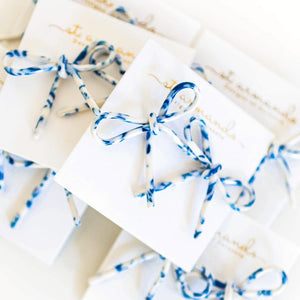 Marbled Blue and White Bow Studs | St. Armands Designs
