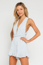 Emma Eyelet Wrap Romper in Light Blue/Cream