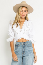 Rollins Ruffle Lace Up Top in White