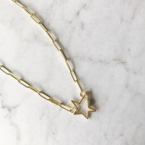 Pave Gold Star Carabiner Chain Necklace