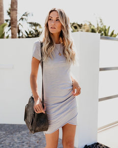Rachel Ruched Dress in Silver