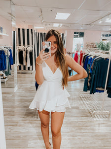 Nora Ruffle Skirt Romper in White