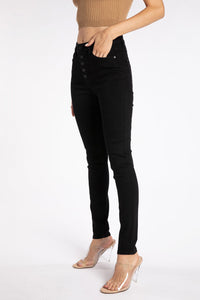Jenna Button Fly Black Skinnies