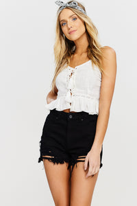 Kennedy High Rise Black Distressed Shorts