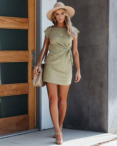 Kendra Knotted T-Shirt Dress in Olive