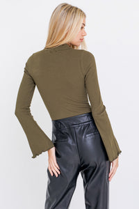 Lillian Lettuce Sleeve Bodysuit in Olive