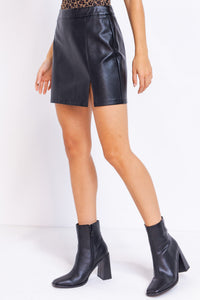 Lola Leather Slit Skirt in Black