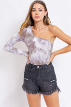 Maddie Mocha Tie Dye One Shoulder Bodysuit