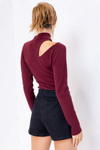 Cortland Cut Out Sweater in Burgundy