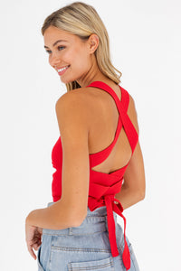 Tonie Lace Up Tie Tank in Red