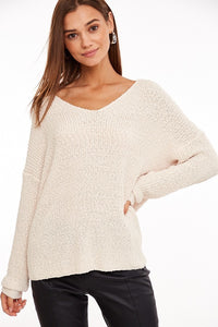 Tess Twist Back Knit Sweater in Cream