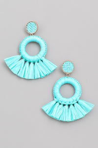 Sophie Straw Fringe Hoops in Turquoise