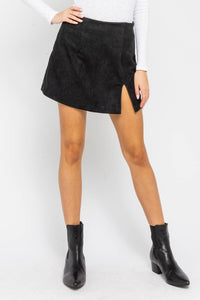 Margot Black Suede Mini Skirt