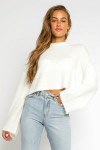 Sophie Cropped Knit Sweater in Ivory