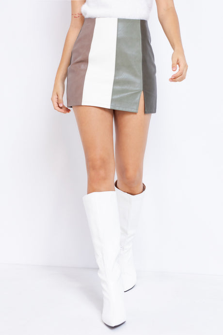 Candice Leather Colorblock Skirt in Sage/Multi