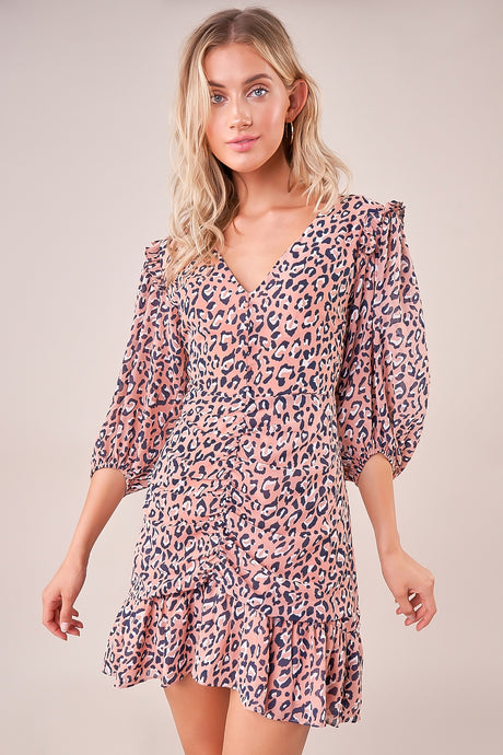 Carrigan Ruched Ruffle Leopard Dress