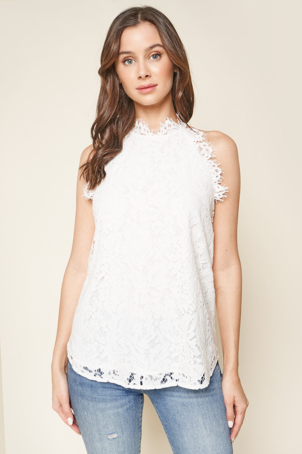 Claire Lace Top in White