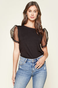Presley Sheer Puff Sleeve Top
