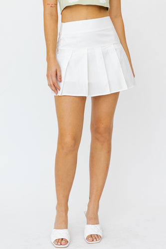 Poplin Pleated Tennis Skirt in White