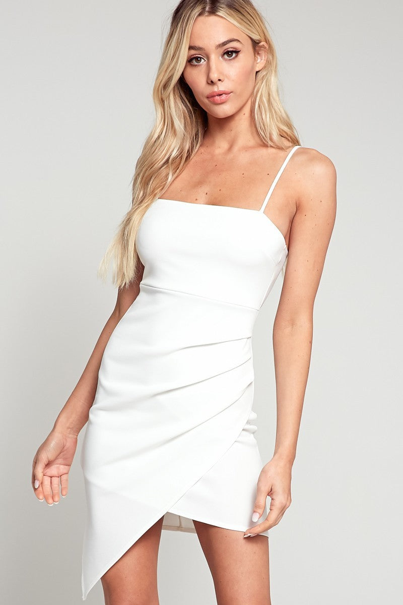 Ava Asymmetric Dress in White