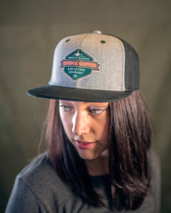 Rhodos Flat Brim Grey and Black Logo Hat
