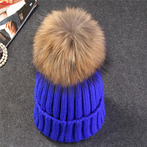 Warm mink and fox fur ball cap pom poms knitted winter hat for women